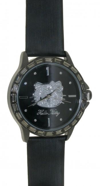 Reloj de HELLO KITTY estilo juvenil con pulsera de polipiel negra.Esfera negra con circonitas blanc - Regalanda