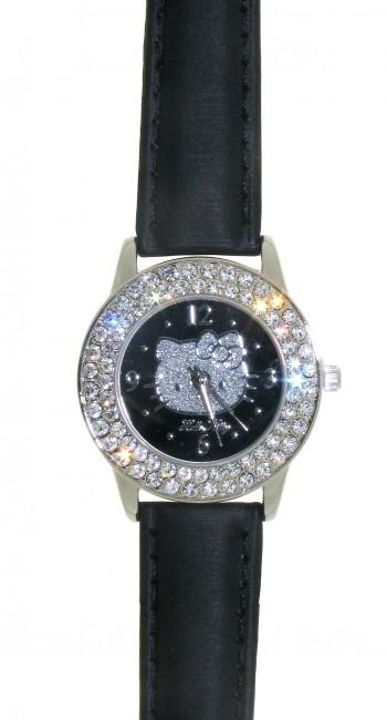Reloj de HELLO KITTY estilo juvenil con pulsera de polipiel negra.Esfera negra con esmaltado en pla - Regalanda