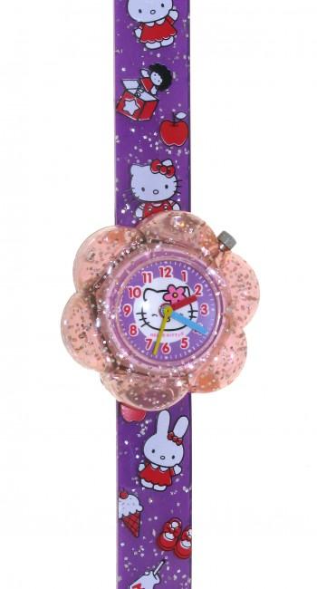 Reloj de HELLO KITTYde estilo infantil con pulsera de PVC color morado con motivos infantiles. - Regalanda