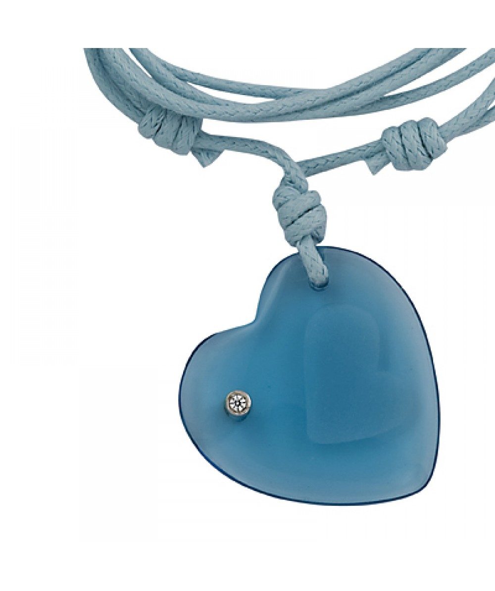 Collar de macrame con colgante corazon de cristal agua marina - Regalanda