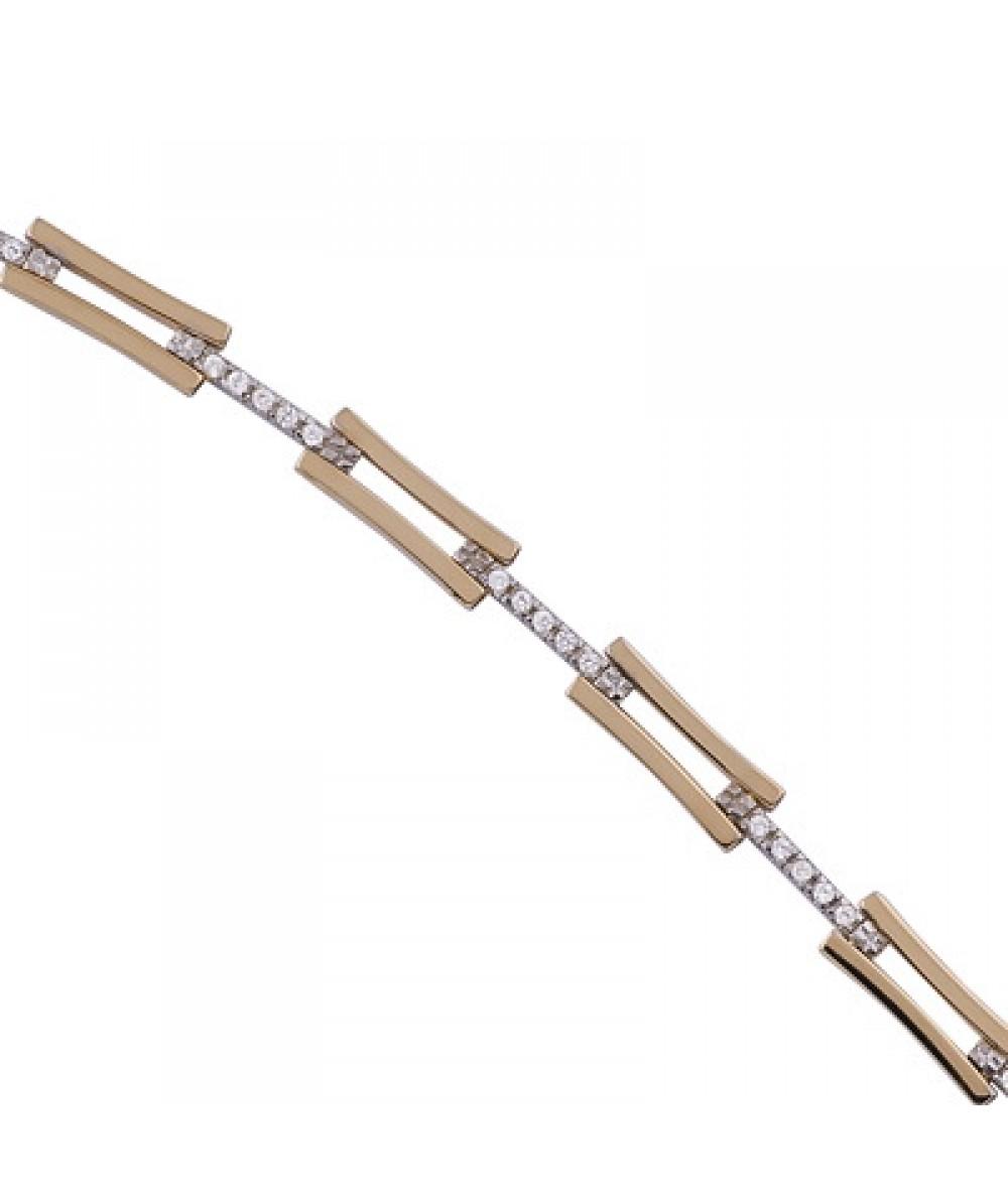 Pulsera de  de Plata/Oro 2,5/10 con eslabones y circonitas - Regalanda
