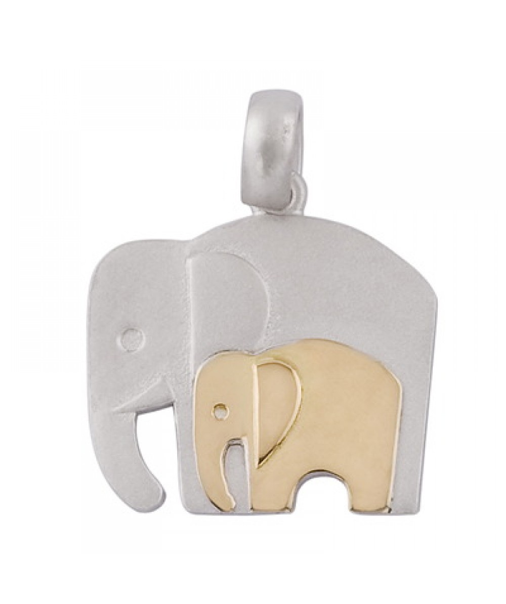 Colgante de Plata/Oro 1/10 con mamá elefante - Regalanda
