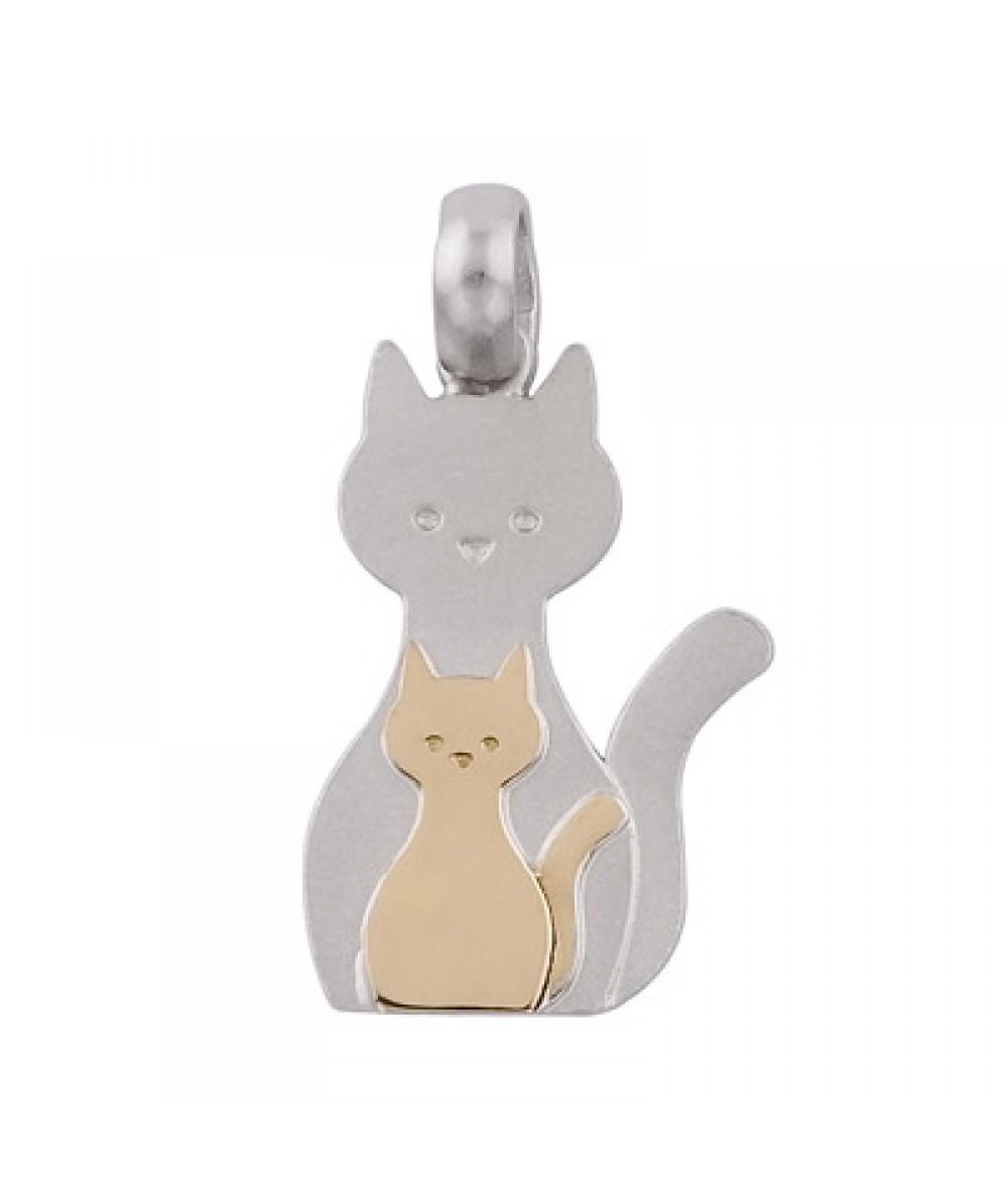 Colgante de Plata/Oro 1.5/10 con mamá gato - Regalanda