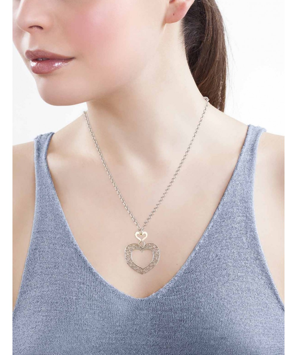 Collar de Plata/Oro 0,5/10 con corazones - Regalanda