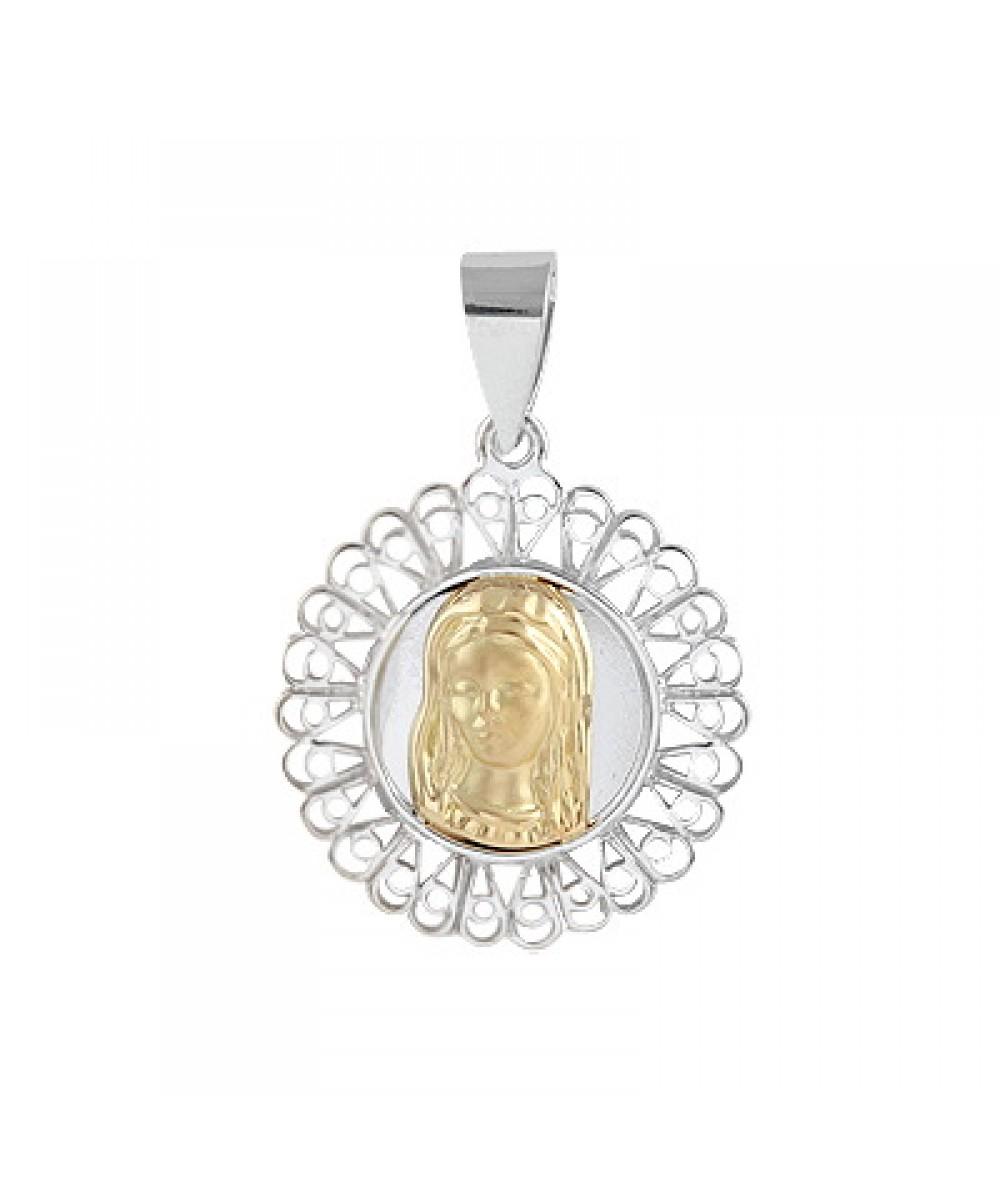 Colgante de Plata/Oro 1/10 con Virgen niña - Regalanda