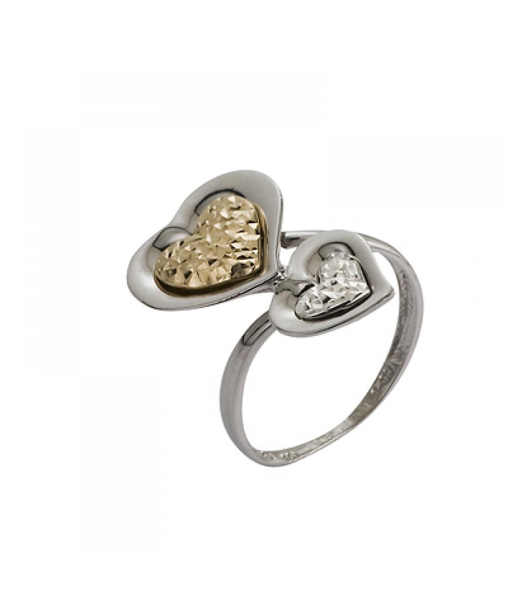 Sortija de Plata/Oro 2/10 con corazones tallados - Regalanda