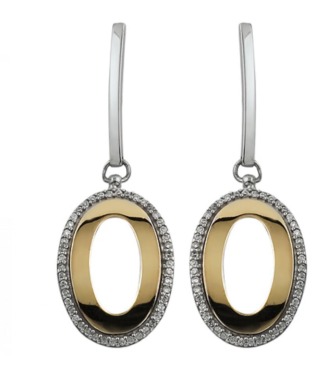 Pendientes de Plata/Oro 0,5/10 con ovalos y circonitas - Regalanda