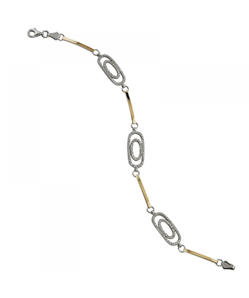 Pulsera de  de Plata/Oro 0.5/10 con eslabones y doble ovalo con circonitas blancas. - Regalanda