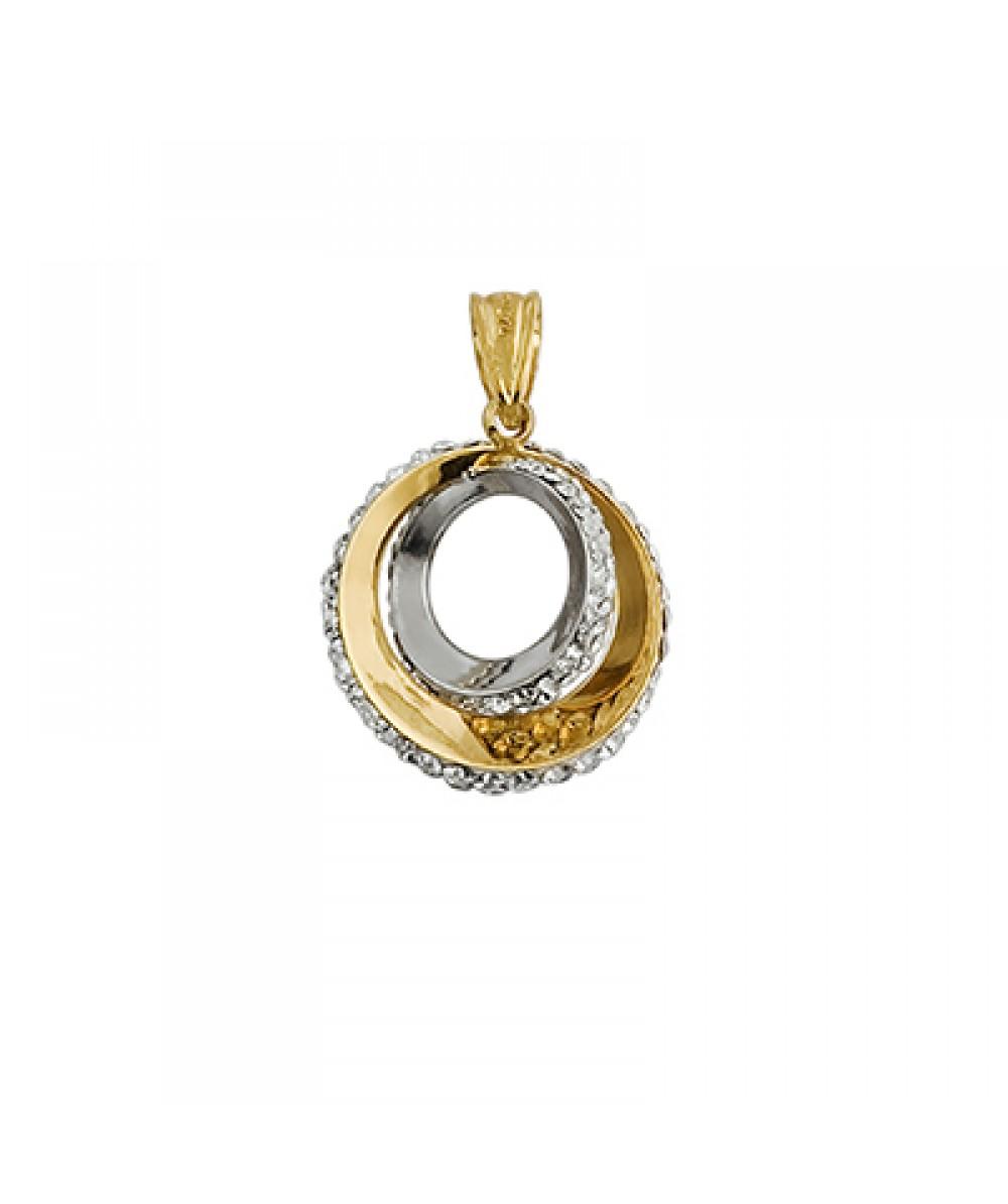Colgante de Plata/Oro 1/10 con aros y circonitas - Regalanda