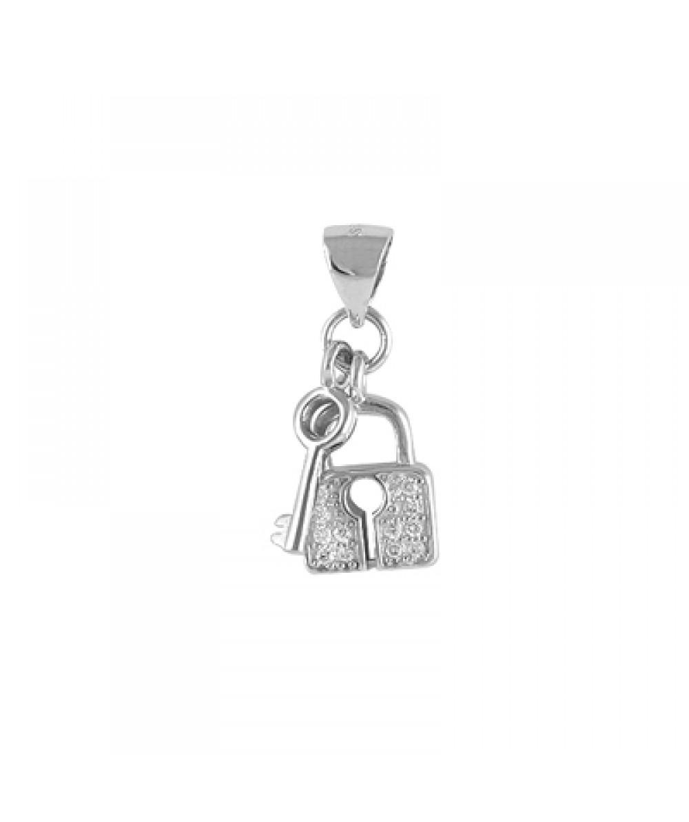 Colgante de candado y llave en plata rodiada con circonitas blancas. - Regalanda
