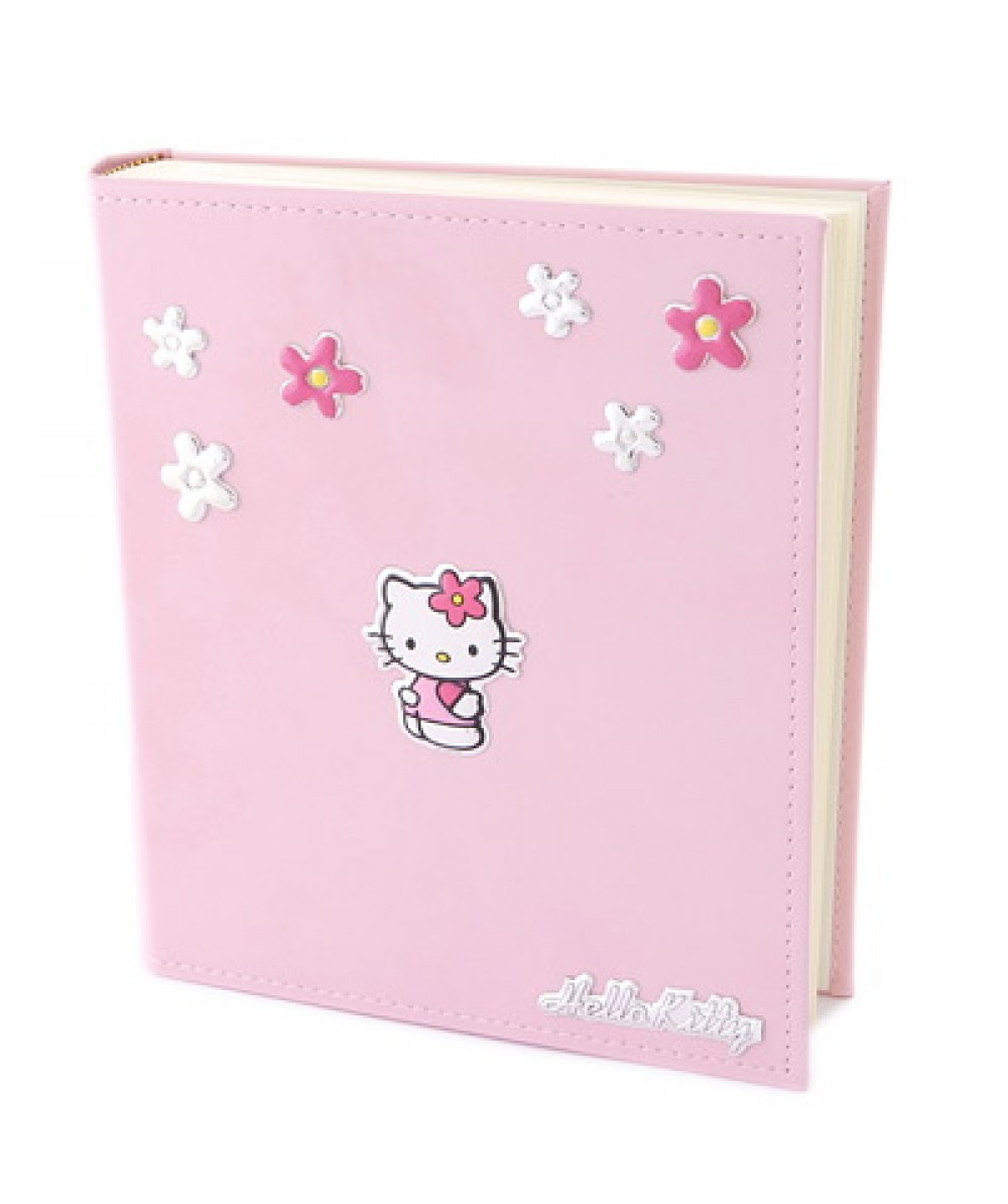 Álbum de fotos Hello Kitty de polipiel rosa decorado con flores y muñeca Hello Kitty en plata. - Regalanda