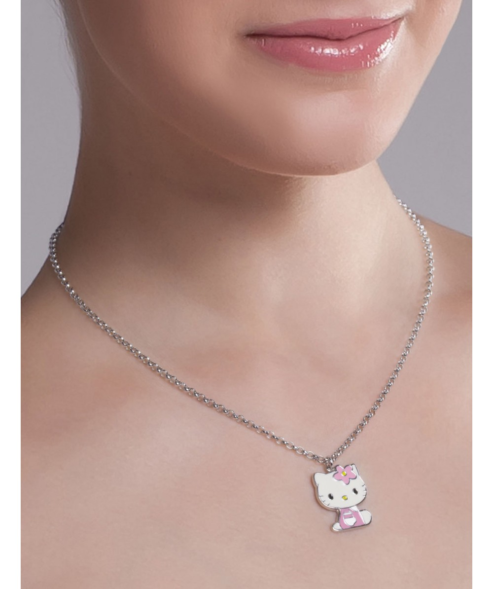 COLLAR DE PLATA CON HELLO KITTY ROSA - Regalanda