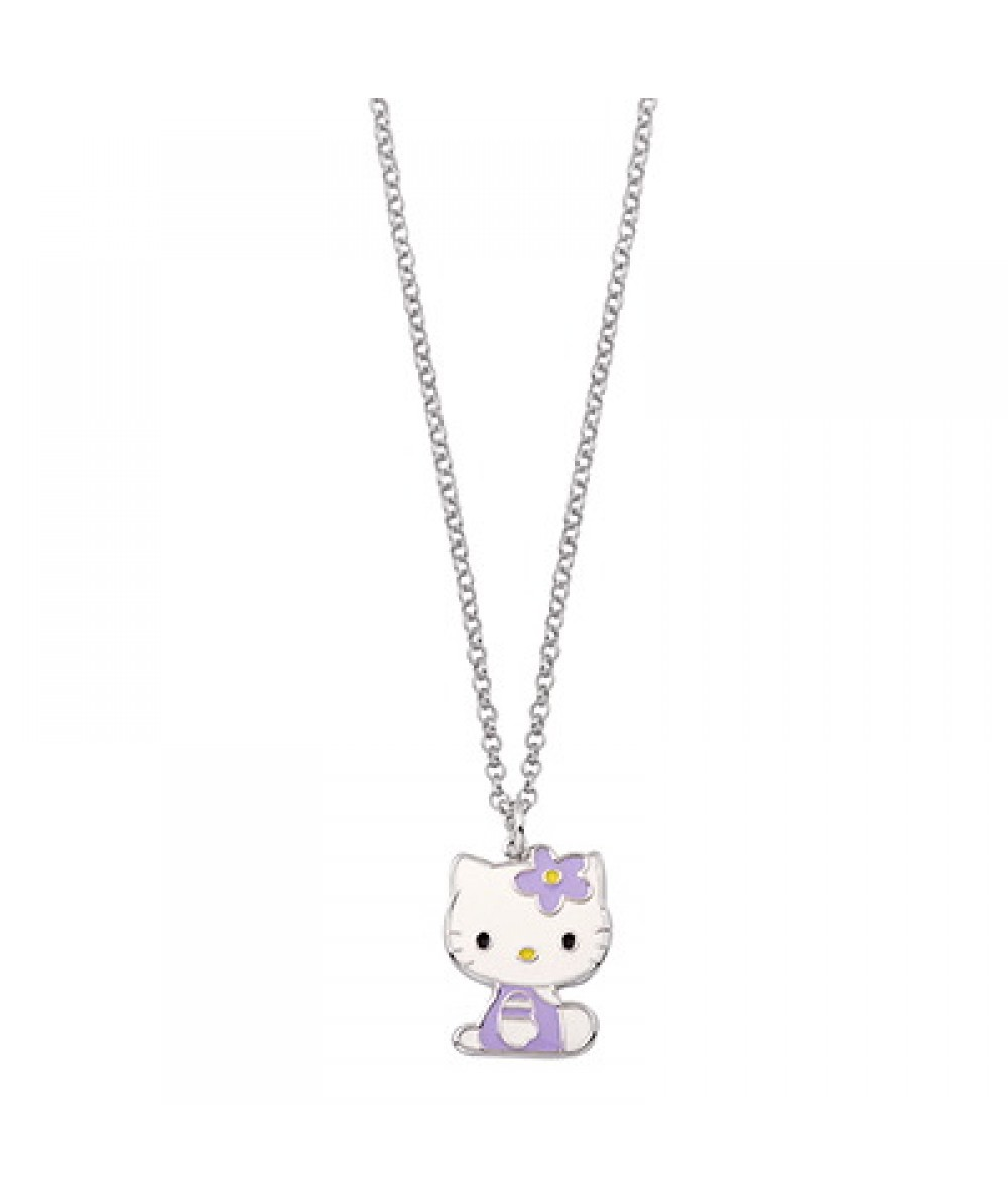 COLLAR DE PLATA CON HELLO KITTY VIOLETA - Regalanda