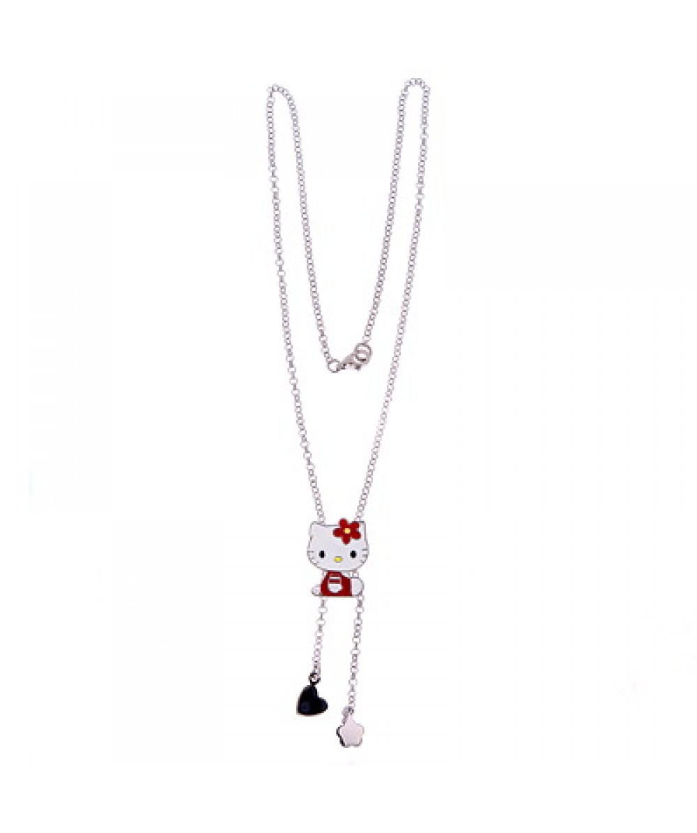 COLLAR DE PLATA CON COLGANTES HELLO KITTY ROJO - Regalanda