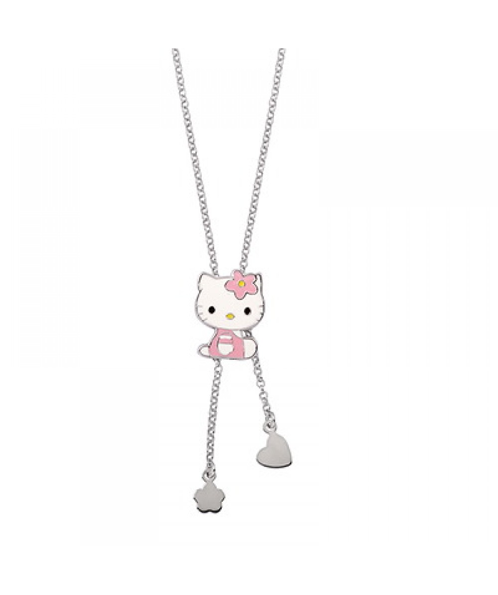 COLLAR DE PLATA CON COLGANTES HELLO KITTY ROSA - Regalanda