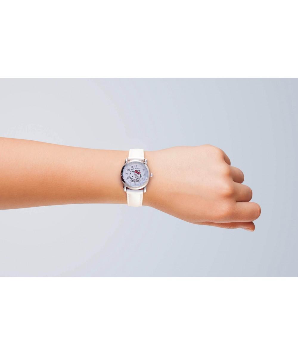 Reloj de HELLO KITTYde estilo juvenil con pulsera de polipiel blanca. - Regalanda