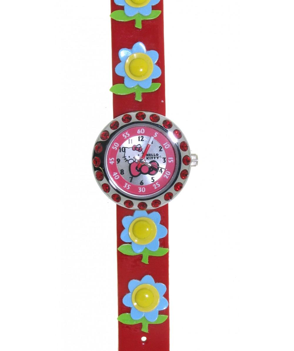 Reloj de HELLO KITTYestilo infantil con pulsera de caucho roja con flores. - Regalanda
