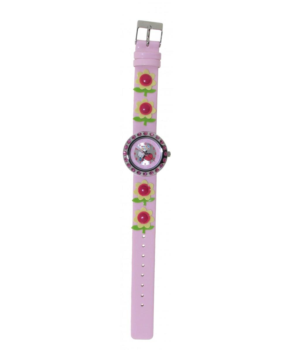 Reloj de HELLO KITTYestilo infantil con pulsera de caucho rosa con flores. - Regalanda