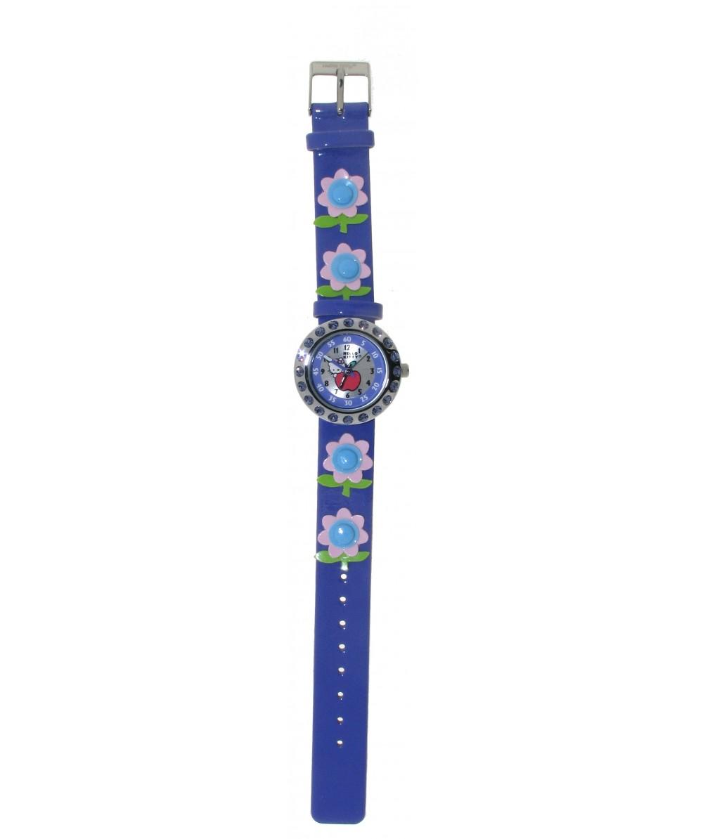Reloj de HELLO KITTY estilo infantil con pulsera de caucho morada con flores. - Regalanda