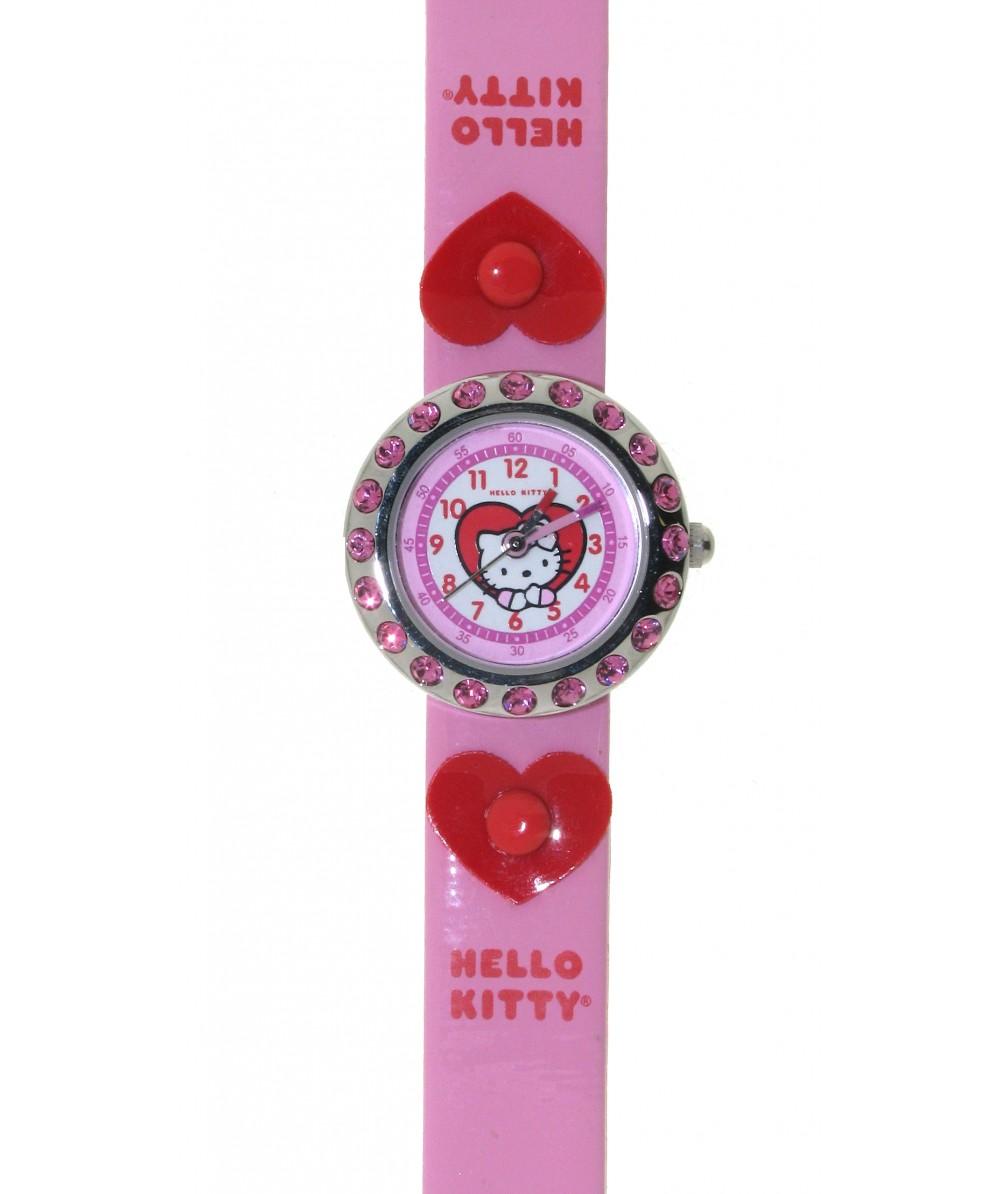 Reloj de HELLO KITTY estilo infantil con pulsera de caucho rosa con corazones. - Regalanda