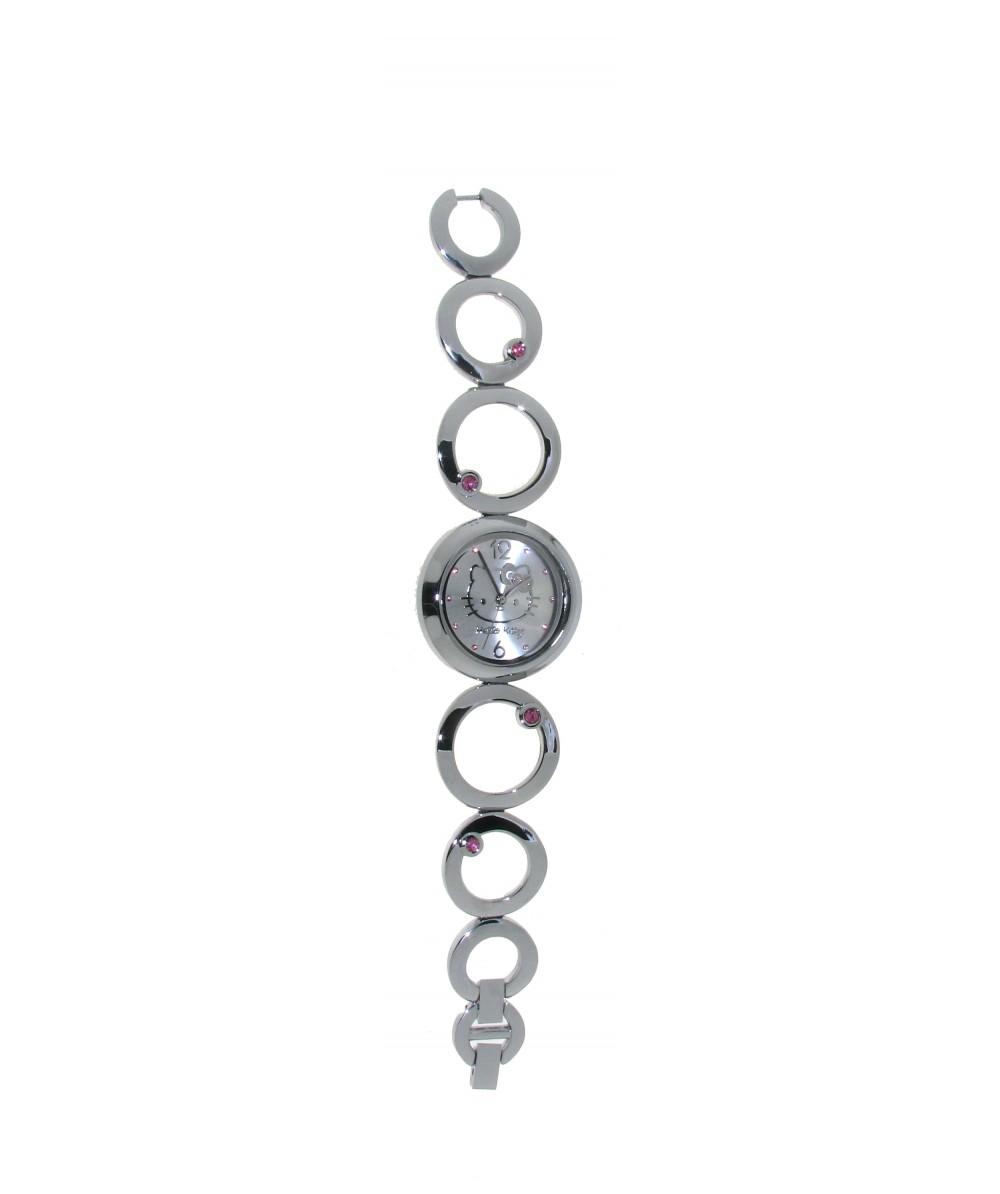 Reloj de HELLO KITTY estilo juvenil con pulsera de acero y circonitas rosas.Esfera en plata con cir - Regalanda