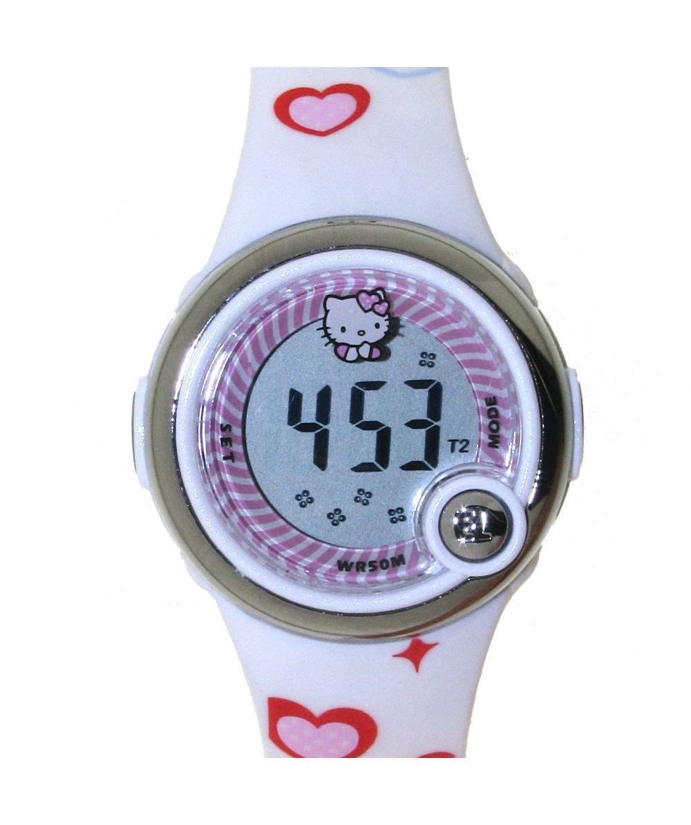 Reloj digital de HELLO KITTYestilo juvenil con pulsera PVC blanco con corazones y motivos de Hello - Regalanda