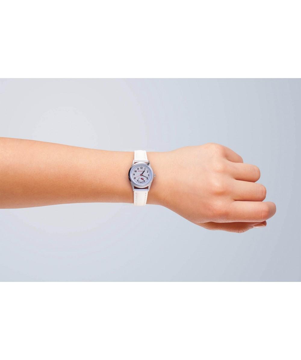Reloj de HELLO KITTY estilo juvenil con pulsera de polipiel blanca ycajacromada en acero,con tapa - Regalanda