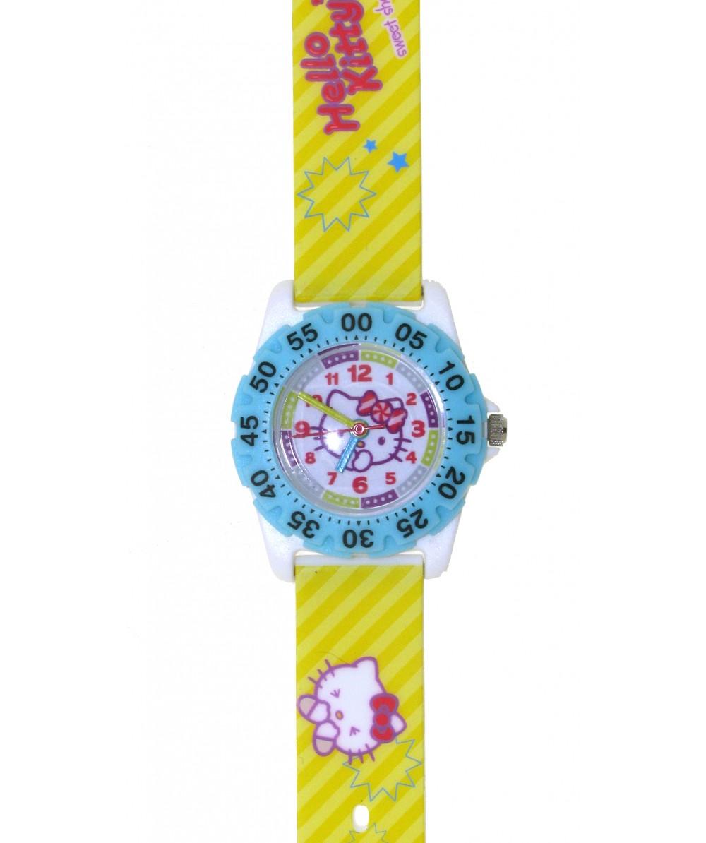 Reloj de HELLO KITTYestilo infantil con pulsera de PVC color amarillo con motivos de Hello Kitty. - Regalanda