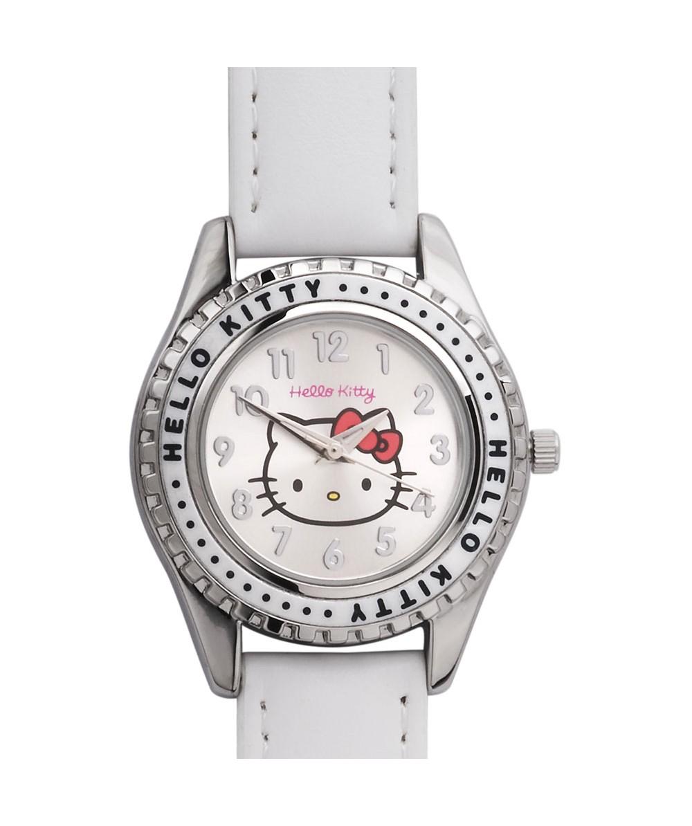Reloj de HELLO KITTYde estilo juvenil con pulsera de polipiel blanca. Esfera en plata. - Regalanda