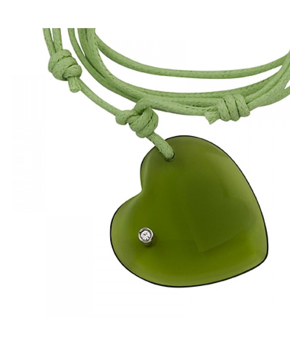 Collar de macrame con colgante corazon de cristal olivina - Regalanda
