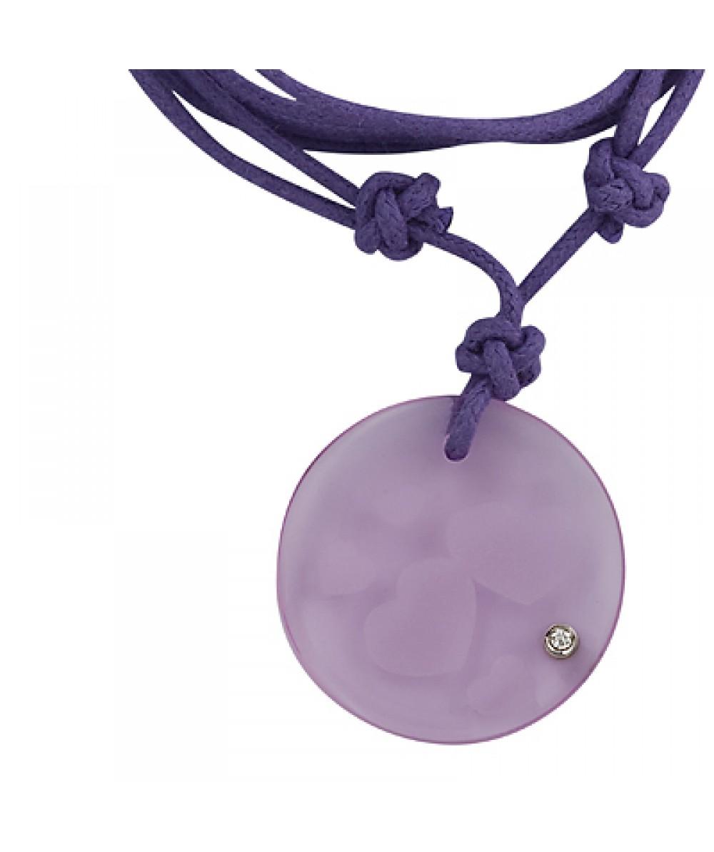 Collar de macrame con colgante corazon de cristal rosa - Regalanda