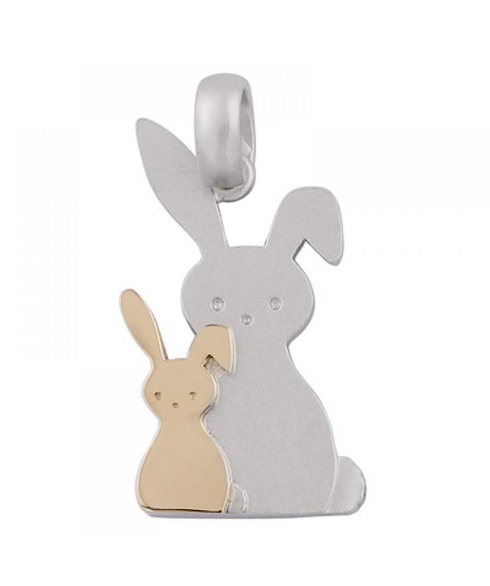 Colgante de Plata/Oro 1/10 con mamá conejo - Regalanda
