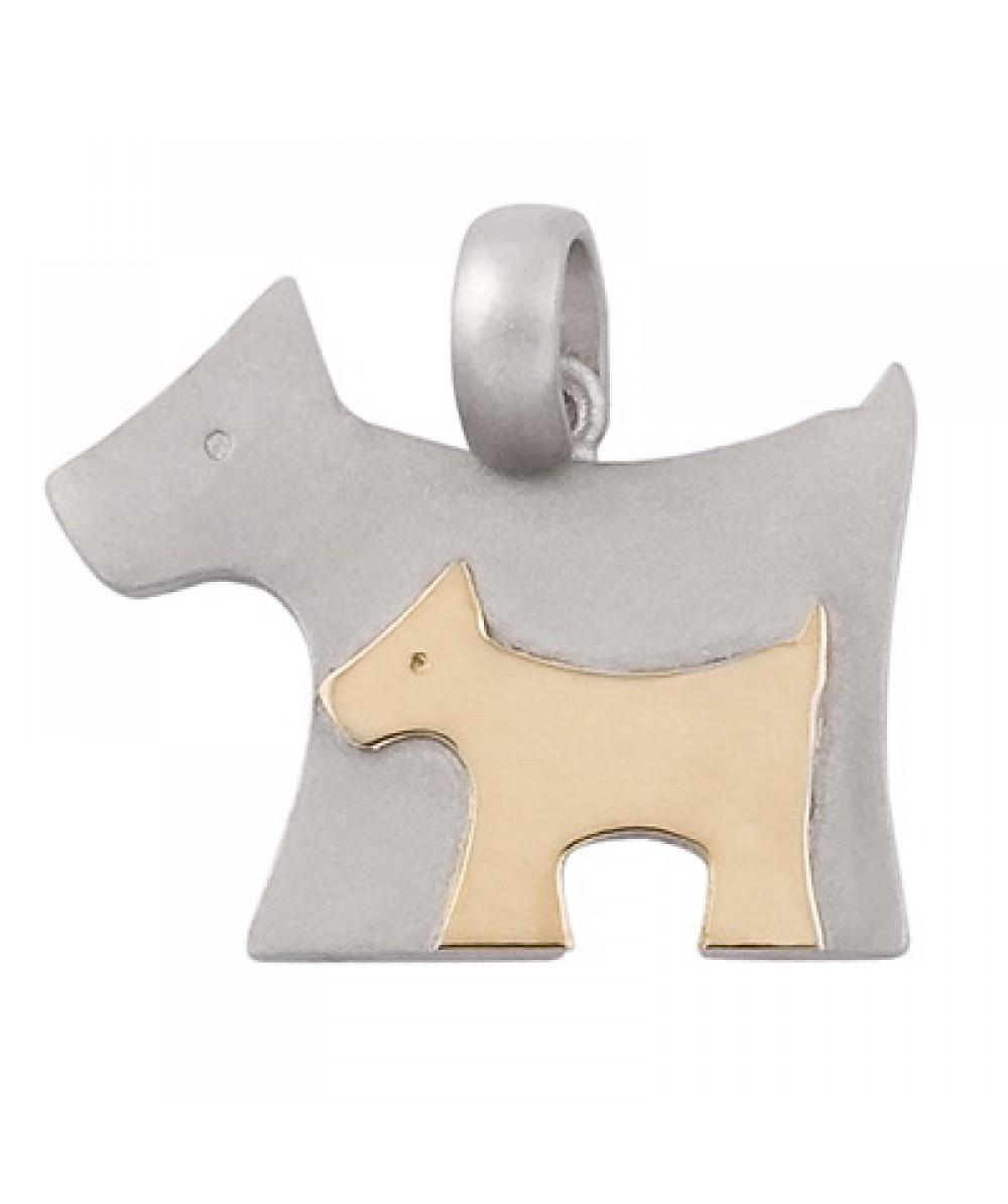 Colgante de Plata/Oro 1/10 con mamá perro - Regalanda