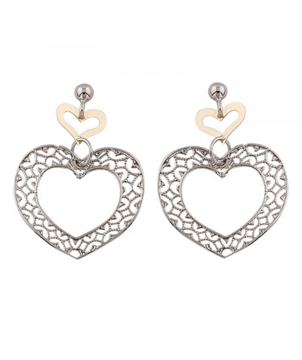 Pendientes de Plata/Oro 0,5/10 con corazones - Regalanda
