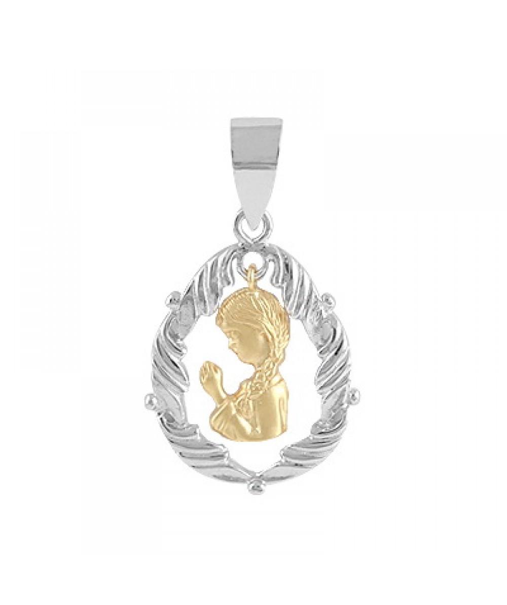 Colgante de Plata/Oro 1.5/10 con Virgen niña - Regalanda