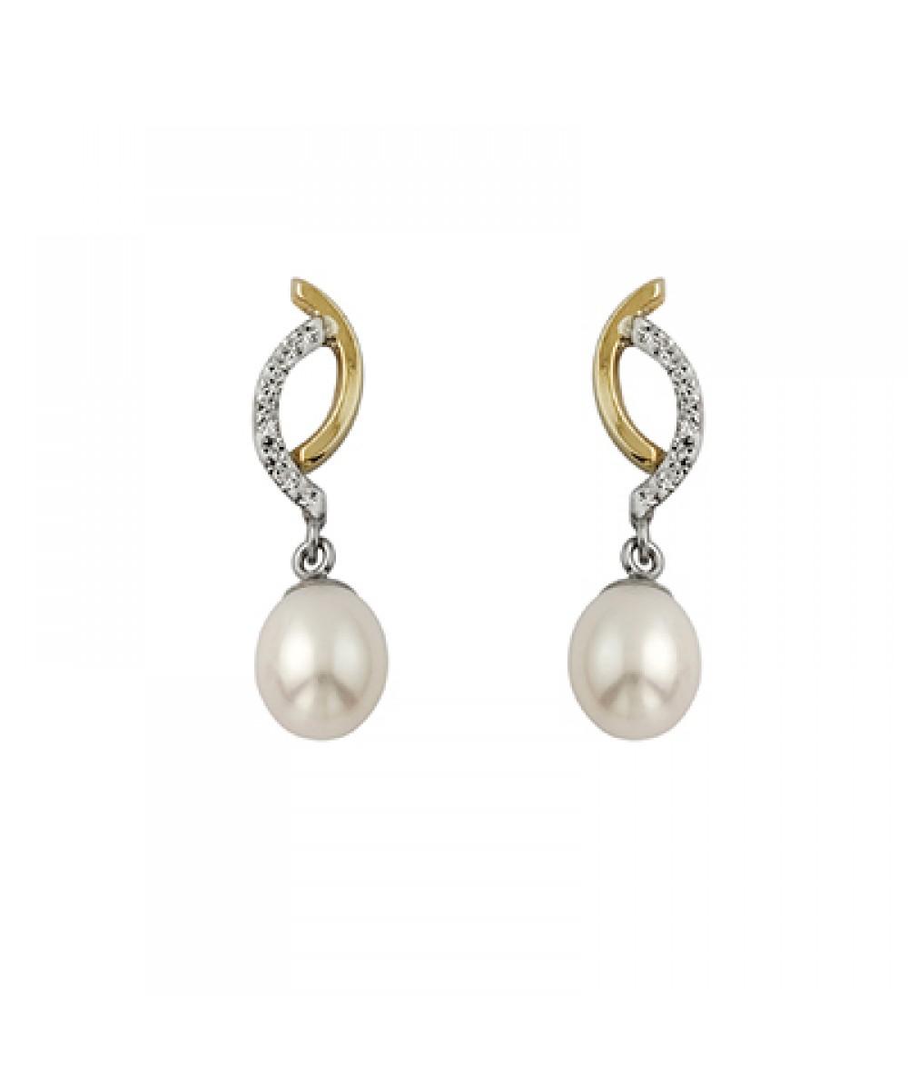 Pendientes de Plata/Oro 3/10 con perla y circonitas - Regalanda