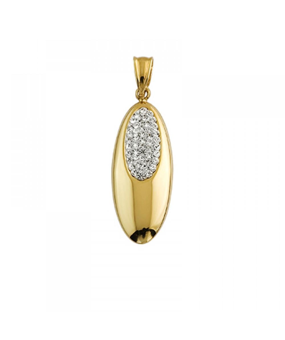 Colgante de Plata/Oro 1/10 con ovalo y circonitas - Regalanda