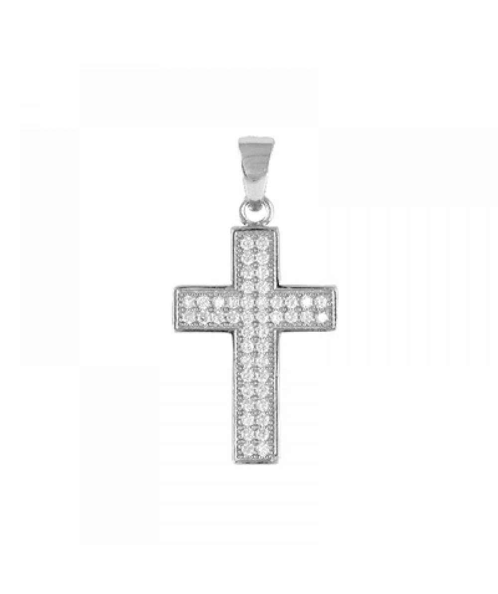 Colgante cruz de plata rodiada con circonitas blancas. - Regalanda