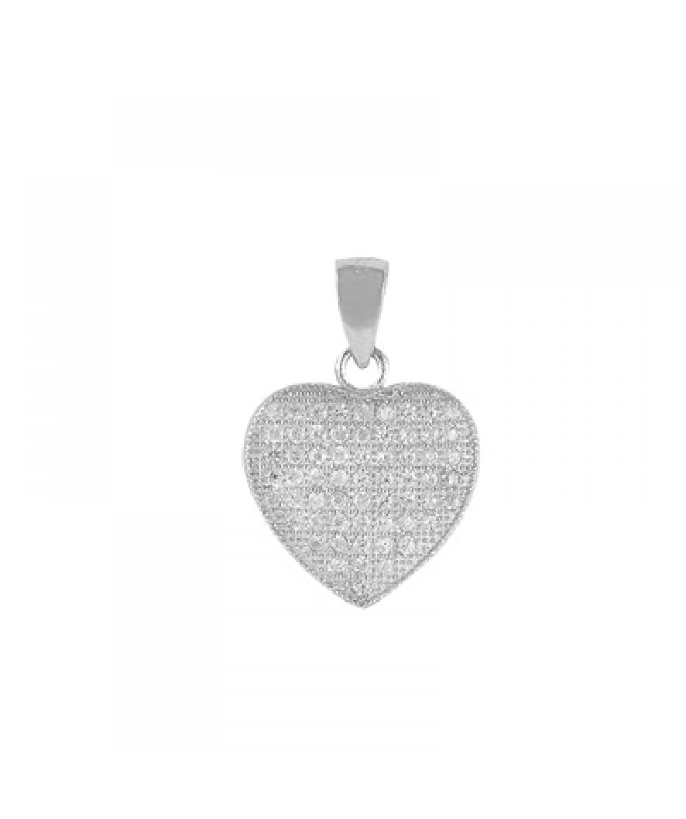 Colgante de corazón en plata rodiada con circonitas blancas. - Regalanda