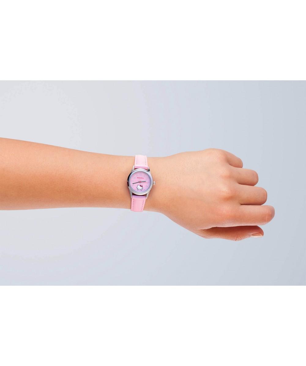 Reloj de HELLO KITTY de estilo juvenil con pulsera de polipiel rosa. Esfera en rosa. - Regalanda